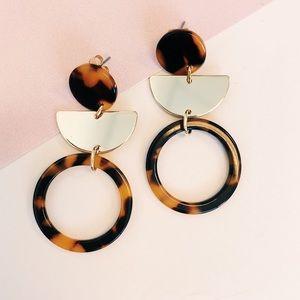 Jewelry - ONE LEFT! Half Moon Tortoise Acrylic Earrings